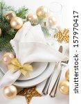 festive christmas table setting ...   Shutterstock . vector #157970417