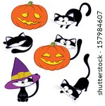 halloween set with cats and... | Shutterstock .eps vector #157984607