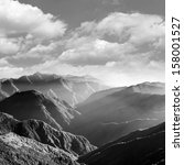 Mountain Scenery In Black And...