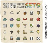 30 colorful doodle icons set 9 | Shutterstock .eps vector #158014097