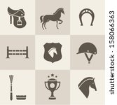 vectir horse icons set | Shutterstock .eps vector #158066363