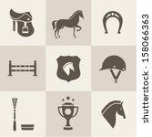 Stock vector vectir horse icons set 158066363