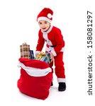 Little Boy Wearing Santa Claus...
