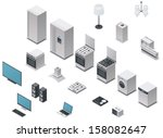 vector isometric domestic... | Shutterstock .eps vector #158082647