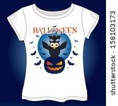 happy owl halloween vector... | Shutterstock .eps vector #158103173