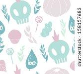 cute halloween pattern.... | Shutterstock .eps vector #158157683