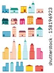 set of icons of houses. | Shutterstock .eps vector #158196923