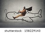 aviator flying with a designed... | Shutterstock . vector #158229143