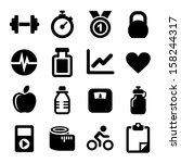 fitness icons set   Shutterstock .eps vector #158244317