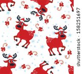 pattern with red reindeer and... | Shutterstock .eps vector #158251697