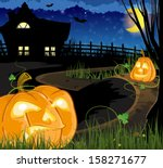 jack o lanterns on the path... | Shutterstock .eps vector #158271677