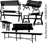 bench silhouette 1   vector   Shutterstock .eps vector #158280413