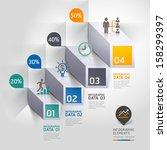 3d staircase diagram modern... | Shutterstock .eps vector #158299397