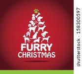 Stock photo furry christmas tree greeting card design jpg 158300597