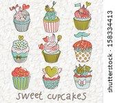 sweet cupcakes in vintage... | Shutterstock .eps vector #158334413