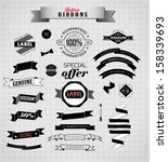 set of retro ribbons and labels.... | Shutterstock .eps vector #158339693