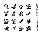 Web icons set - Gardening, tools, flowers