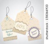 vintage shop label set with... | Shutterstock .eps vector #158366933