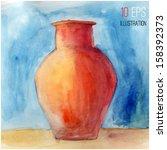 jug  watercolor | Shutterstock .eps vector #158392373