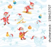 solid fill seamless christmas... | Shutterstock .eps vector #158415707