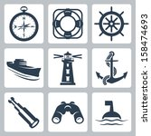vector sea icons set  compass ... | Shutterstock .eps vector #158474693