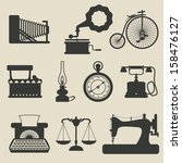 retro icons   raster version | Shutterstock . vector #158476127