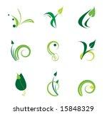 green plant logo set