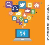 laptop with social media icons... | Shutterstock .eps vector #158486873