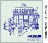 drawing old engine on graph... | Shutterstock .eps vector #158490707