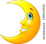 illustration of a happy moon...