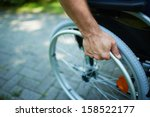 close up of male hand on wheel... | Shutterstock . vector #158522177