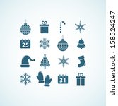 christmas and new year icons | Shutterstock .eps vector #158524247
