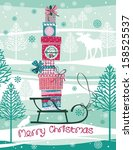 christmas card with gift boxes | Shutterstock .eps vector #158525537