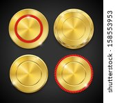 set of blank round polished... | Shutterstock .eps vector #158553953