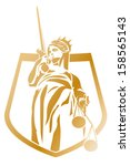Lady Justice Coat of Arms Vector Logo Design Element