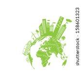 green modern city living...   Shutterstock .eps vector #158601323
