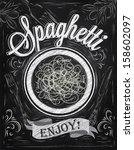 poster lettering spaghetti... | Shutterstock .eps vector #158602097