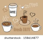collection of hand drawn... | Shutterstock .eps vector #158614877