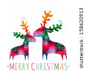 Christmas Card With Colorful...