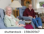 a happy elderly welcomes the... | Shutterstock . vector #158630567