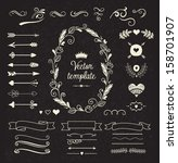 vintage borders set | Shutterstock .eps vector #158701907