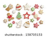 Gingerbread Cookies On White...