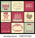 set of 9 christmas cards with... | Shutterstock .eps vector #158737433