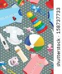 kids related seamless pattern | Shutterstock .eps vector #158737733