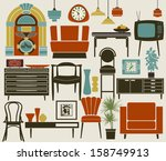 retro furniture  accessories... | Shutterstock .eps vector #158749913