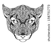 Puma head tattoo. Vector illustration - stock vector