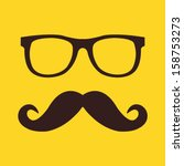 vector mustache and glasses icon | Shutterstock .eps vector #158753273