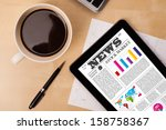 workplace with tablet pc... | Shutterstock . vector #158758367
