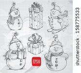 Sketching Style  Snowmen And...