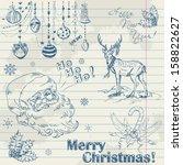 hand drawn vintage christmas... | Shutterstock .eps vector #158822627